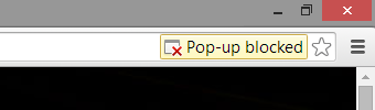 Popup blocked Warning in Chrome