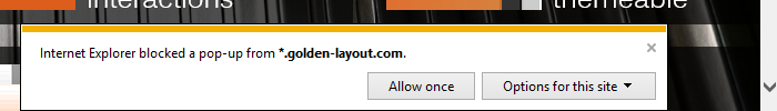 Popup blocked Warning in Internet Explorer